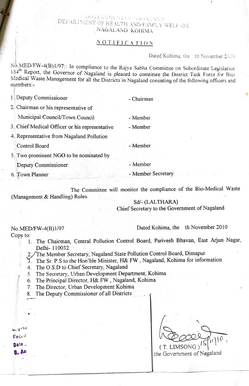 Bio-medical District Task Force notification 2010