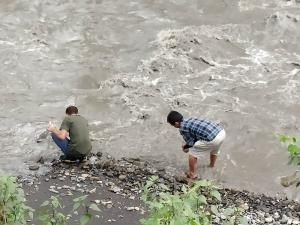 Sample collection at Dzu River