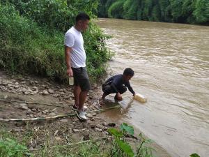 Sample collection at Milak River Tuli