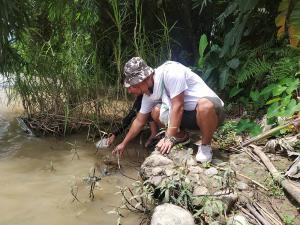 Sample collection at Milak River